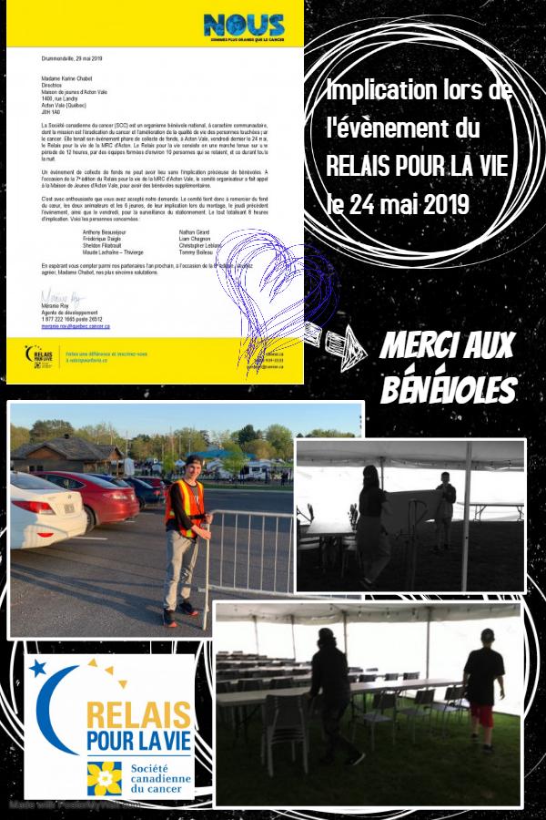 Affiche bénévoles Relais pour la Vie
